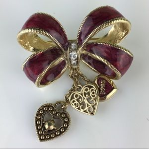 Monet Signed Ribbon & Heart Charms 2005 Brooch